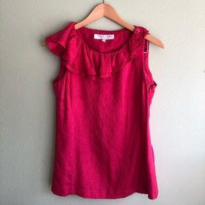 Trina Turk fuschia silk blouse